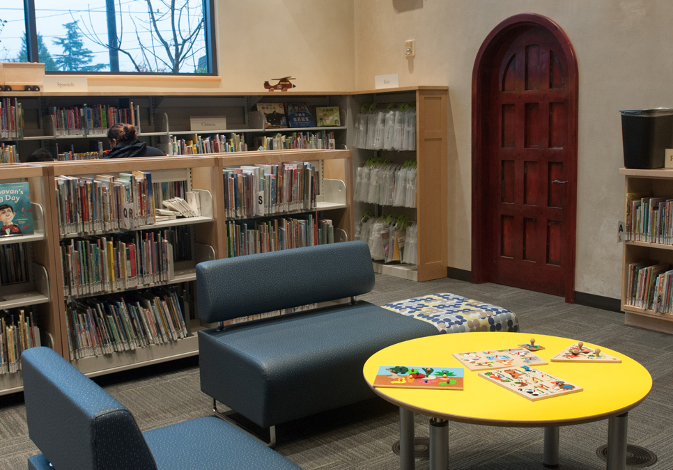 Seating in children's area at the Beacon Hill Branch