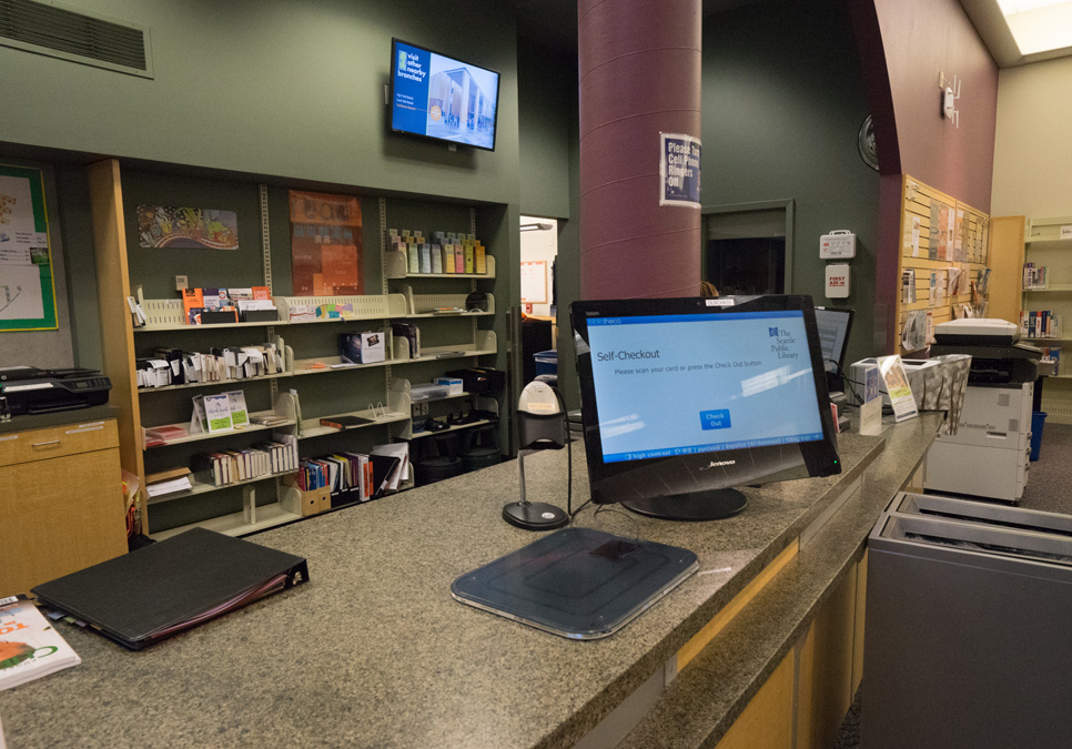 Self-checkout station at the Delridge Branch