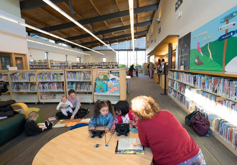 Children using tablets in the children's area at the High Point Branch