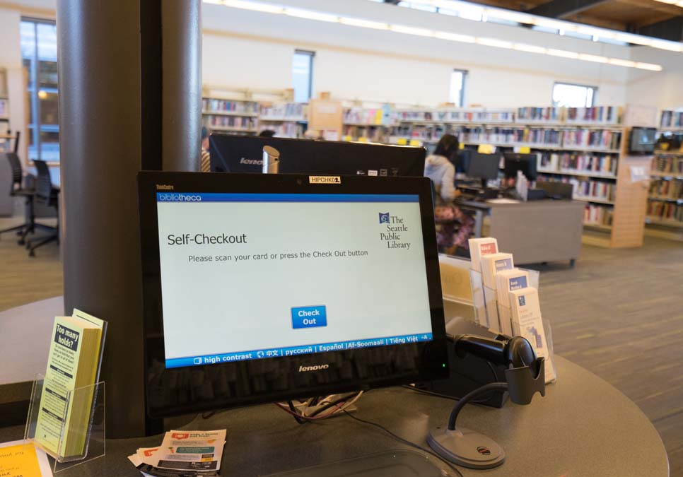 Self-checkout station at the High Point Branch