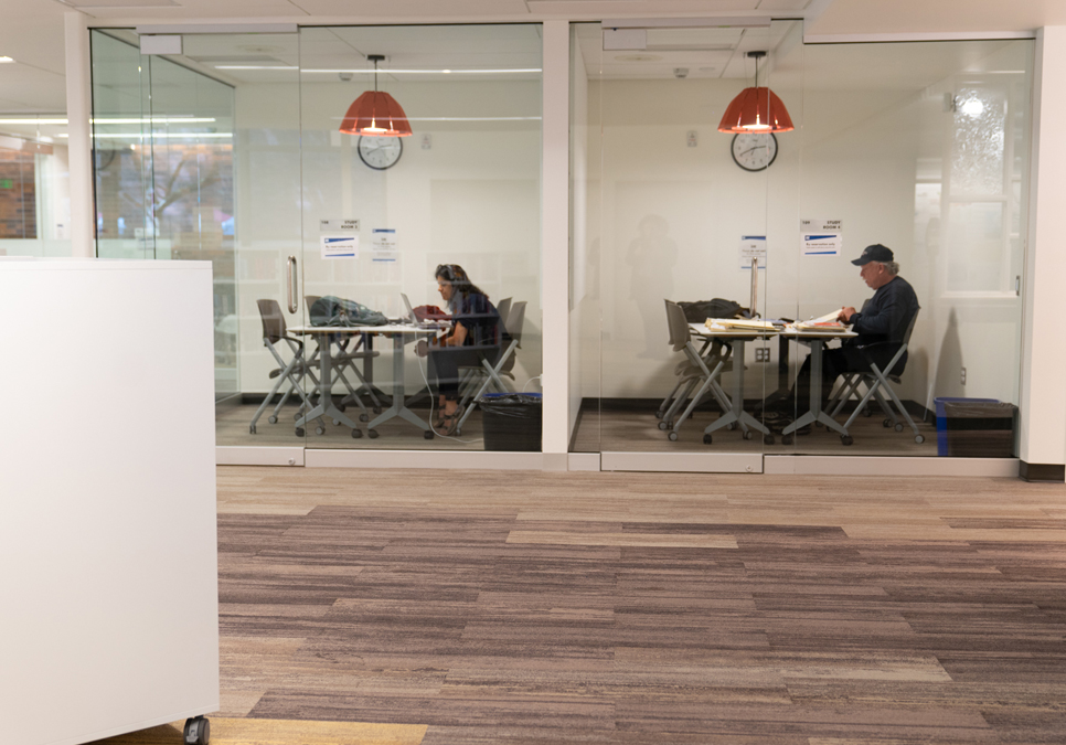 Patrons using study rooms at the Lake City Branch