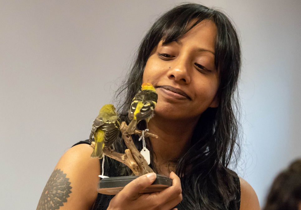 Mita Mahato holding a bird specimen and offering drawing tips