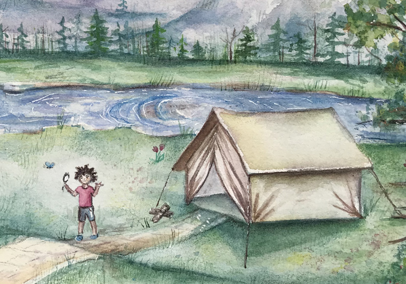Kids camping near a lake - Artwork by Yessica Marquez