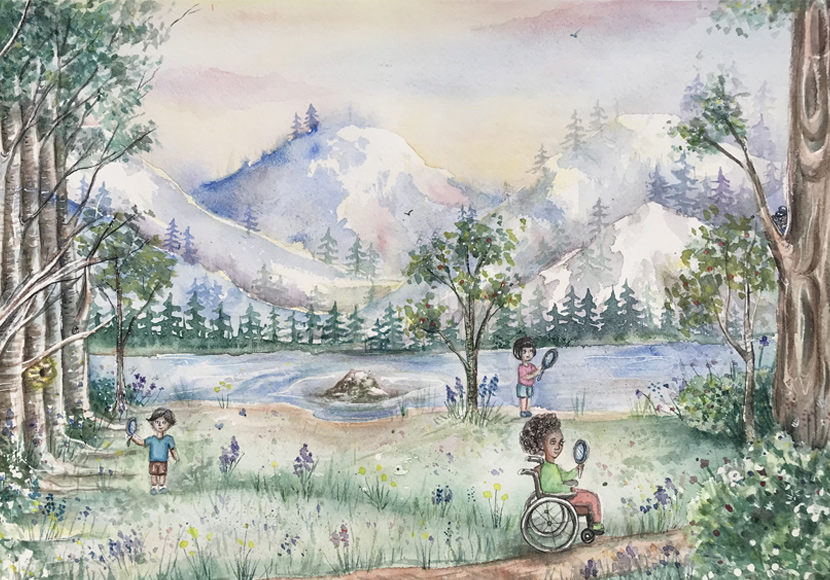 Painting of kids camping near a lake - Artwork by Yessica Marquez